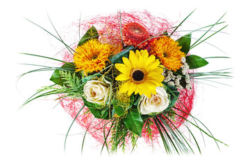 Colorful floral bouquet of roses and sunflowers isolated on white background.