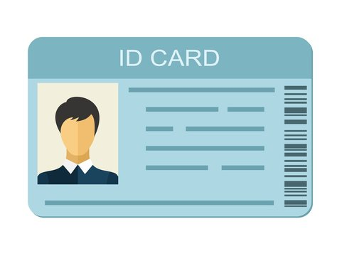 ID Card isolated on white background. Identification card icon. Business identity ID card icon template badge. Identification personal contact in flat style