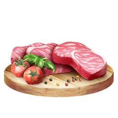 Fresh raw marbled steaks with tomatoes and spices on a plate. Watercolor