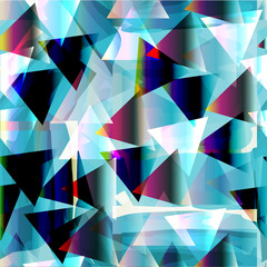 Seamless geometric pattern. Blue background with triangles. Colored transparent triangles.