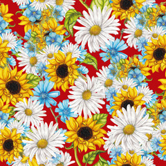 Seamless pattern of summer flowers