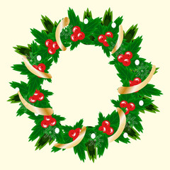 Christmas wreath vector illustration. A Christmas decoration. A wreath of mistletoe