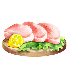 Fresh raw steak on lettuce with lemon on a plate. Watercolor
