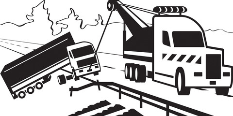 Tractor pulls on road crashed truck - vector illustration