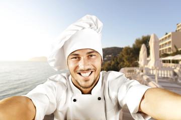 cook making selfie
