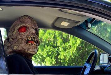 Creepy Passenger Riding Shotgun on Halloween