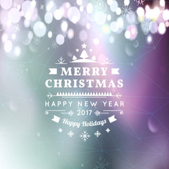 Merry Christmas and Happy New Year card. Christmas typographic message. Vector bokeh background, festive defocused lights, snowflakes, text. Northern lights