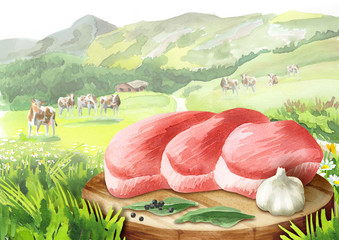 Fresh raw steak with spices on a plate in landscape with cows. Watercolor