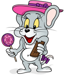Mouse With Lollipop - Colored Cartoon Illustration, Vector
