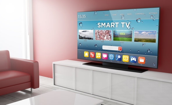 Smart tv on a living room