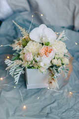 composition of a bouquet in a box