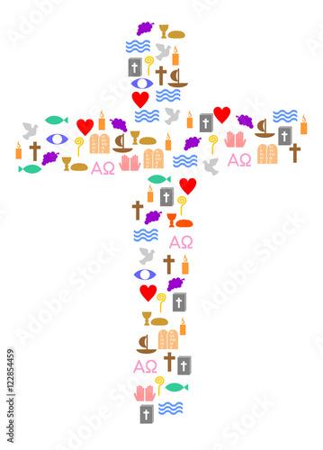 Quot Kreuz Mit Bunten Christlichen Symbolen Quot Stockfotos Und