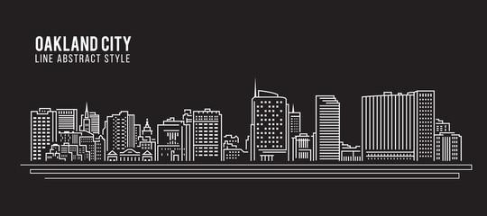 Cityscape Building Line art Vector Illustration design - Oakland city ,California