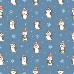 Seamless pattern with cute cartoon penguins and fishes on blue background. Winter time. White snowflakes. Funny animals. Antarctic birds. Vector contour image. Children's illustration.