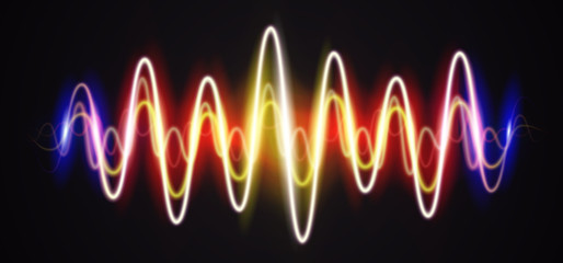 Neon waveform shiny music sign with flares