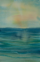 Beautiful sea, watercolor painting impressionist style