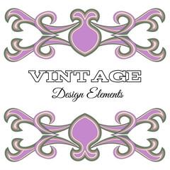 Calligraphic design elements and page decoration. Purple Vintage floral elements for design. Vector decorative design elements.
