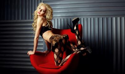 Beautiful girl, interior studio, blond, long hair