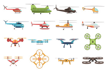 Helicopters And Drone Set