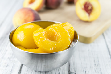 Some canned Peaches