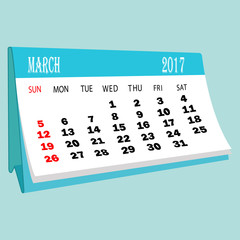 Calendar 2017 March page of a desktop calendar.3D Rendering.