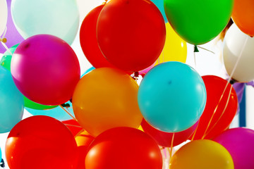 Colorful birthday balloons, closeup