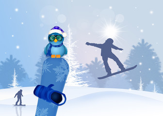 funny illustration with snowboard