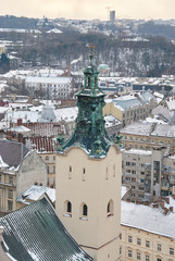 Winter view on the downtown in Lviv, Ukraine