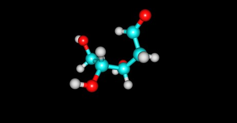 Deoxyribose molecular structure isolated on black