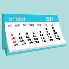 Calendar 2017 September page of a desktop calendar.3D Rendering.