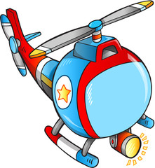 Cute Rescue Helicopter Vector Illustration Art