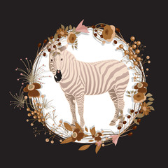 Zebra in Flourish Frame
