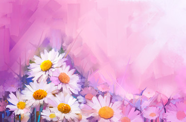 Oil painting flowers. Hand paint still life bouquet of White Gerbera, Daisy flowers. Vintage flowers painting in soft red and purple color background.