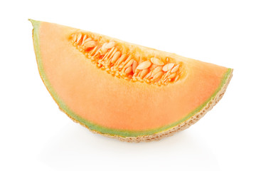 Cantaloupe melon slice with seeds on white, clipping path