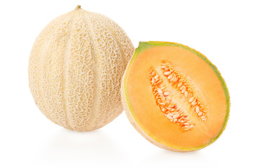 Cantaloupe melon and section on white, clipping path