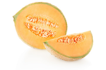Cantaloupe half melon and slice with seeds on white, clipping path