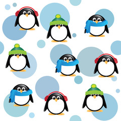 Cute penguins on spotted background