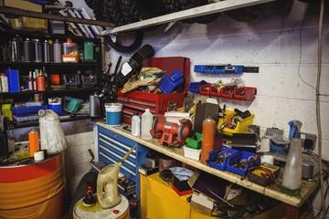 Various mechanic equipments on worktop