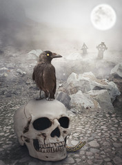 Halloween mystical landscape with skull and crow