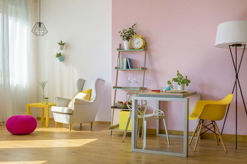 Trendy combination of pink and white wall
