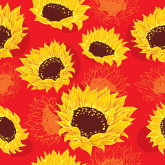 Seamless vivid sketch of stylized sunflowers and orange flowers red background