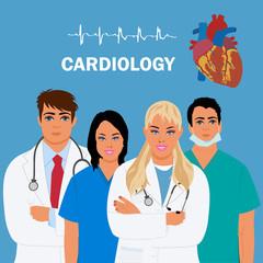 cardiology concept, heart doctor, vector illustration