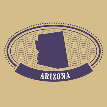Arizona map silhouette - oval stamp of state