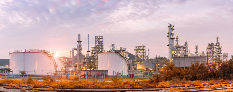 Oil and gas refinery plant against blue sky , petrochemical plant , Petroleum , Chemical Industry