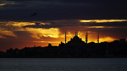 Awesome Sunset At Istanbul with Silhouette Of The Blue Mosque