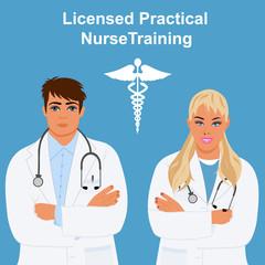 licensed practical nurse training concept, vector illustration