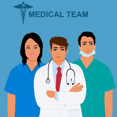 medical team concept, physician, doctor, nurse, vector illustration