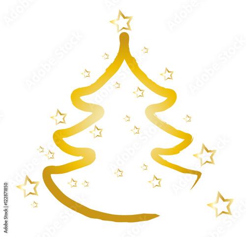 frohe weihnachten weihnachtsbaum mit goldenen sternen. Black Bedroom Furniture Sets. Home Design Ideas