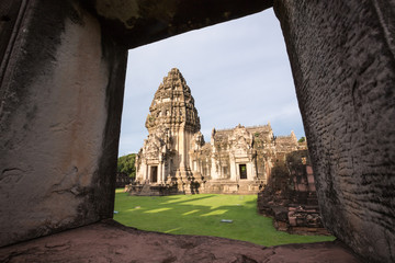 Ancient castle built of pink sandstone, Prasat Hin Phi mai, Historical Park, Phi Mai district, Nakhon Ratchasima, Thailand