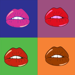 pop art  warhol lips colorful vector illustration